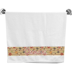 Chevron & Fall Flowers Bath Towel (Personalized)