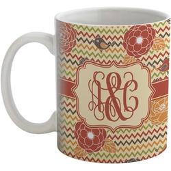 Chevron & Fall Flowers Coffee Mug (Personalized)