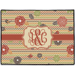 Chevron & Fall Flowers Door Mat (Personalized)
