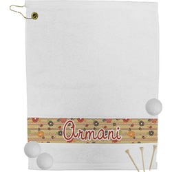 Chevron & Fall Flowers Golf Towel (Personalized)