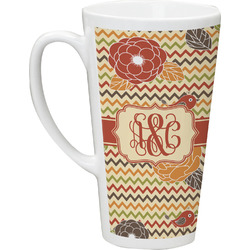 Chevron & Fall Flowers Latte Mug (Personalized)
