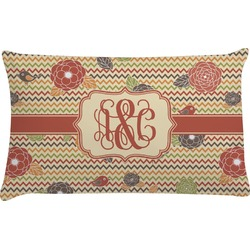 Chevron & Fall Flowers Pillow Case (Personalized)