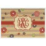 Chevron & Fall Flowers Laminated Placemat w/ Couple's Names