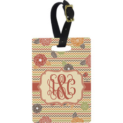 Chevron & Fall Flowers Rectangular Luggage Tag (Personalized)