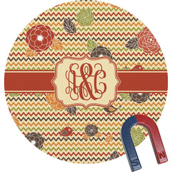 Chevron & Fall Flowers Round Magnet (Personalized)