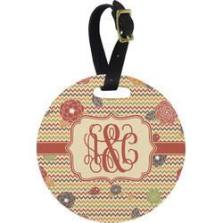 Chevron & Fall Flowers Round Luggage Tag (Personalized)