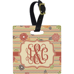 Chevron & Fall Flowers Square Luggage Tag (Personalized)