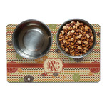 Chevron & Fall Flowers Dog Food Mat (Personalized)