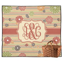 Chevron & Fall Flowers Outdoor Picnic Blanket (Personalized)