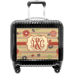 Chevron & Fall Flowers Pilot / Flight Suitcase (Personalized)