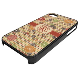 Chevron & Fall Flowers Plastic 4/4S iPhone Case (Personalized)