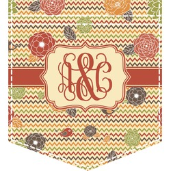 Chevron & Fall Flowers Iron On Faux Pocket (Personalized)