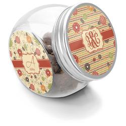Chevron & Fall Flowers Puppy Treat Jar (Personalized)
