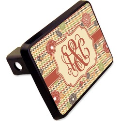 """Chevron & Fall Flowers Rectangular Trailer Hitch Cover - 2"""" (Personalized)"""