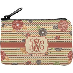 Chevron & Fall Flowers Rectangular Coin Purse (Personalized)