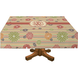 Chevron & Fall Flowers Tablecloth (Personalized)