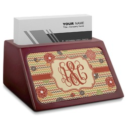 Chevron & Fall Flowers Red Mahogany Business Card Holder (Personalized)