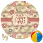 Chevron & Fall Flowers Round Beach Towel (Personalized)