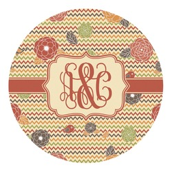 Chevron & Fall Flowers Round Decal (Personalized)