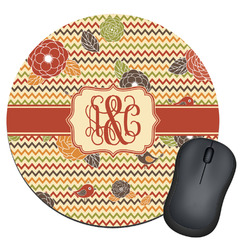Chevron & Fall Flowers Round Mouse Pad (Personalized)