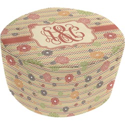 Chevron & Fall Flowers Round Pouf Ottoman (Personalized)