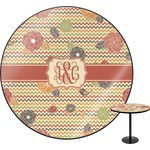 Chevron & Fall Flowers Round Table (Personalized)