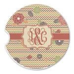 Chevron & Fall Flowers Sandstone Car Coasters (Personalized)