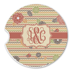 Chevron & Fall Flowers Sandstone Car Coasters (Personalized)