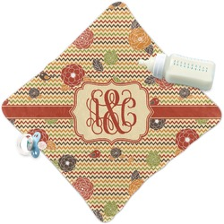 Chevron & Fall Flowers Security Blanket (Personalized)