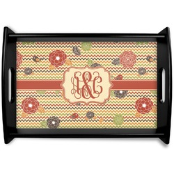 Chevron & Fall Flowers Black Wooden Tray (Personalized)
