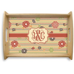 Chevron & Fall Flowers Natural Wooden Tray (Personalized)