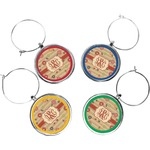 Chevron & Fall Flowers Wine Charms (Set of 4) (Personalized)
