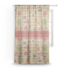 Chevron & Fall Flowers Sheer Curtains (Personalized)