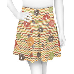 Chevron & Fall Flowers Skater Skirt (Personalized)