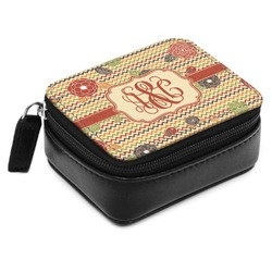 Chevron & Fall Flowers Small Leatherette Travel Pill Case (Personalized)
