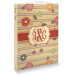 Chevron & Fall Flowers Softbound Notebook (Personalized)