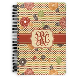 Chevron & Fall Flowers Spiral Bound Notebook (Personalized)