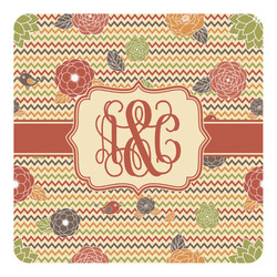 Chevron & Fall Flowers Square Decal - Custom Size (Personalized)