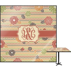 Chevron & Fall Flowers Square Table Top (Personalized)