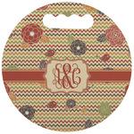 Chevron & Fall Flowers Stadium Cushion (Round) (Personalized)