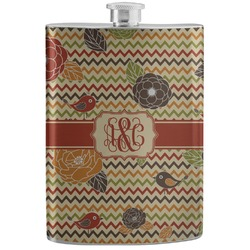 Chevron & Fall Flowers Stainless Steel Flask (Personalized)