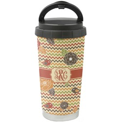 Chevron & Fall Flowers Stainless Steel Coffee Tumbler (Personalized)