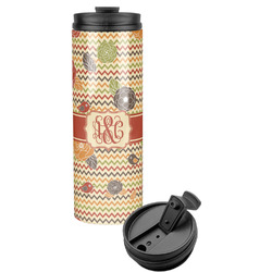 Chevron & Fall Flowers Stainless Steel Tumbler (Personalized)
