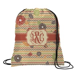 Chevron & Fall Flowers Drawstring Backpack (Personalized)