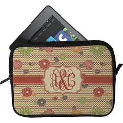 Chevron & Fall Flowers Tablet Case / Sleeve (Personalized)