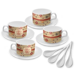 Chevron & Fall Flowers Tea Cup - Set of 4 (Personalized)