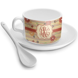 Chevron & Fall Flowers Tea Cup - Single (Personalized)