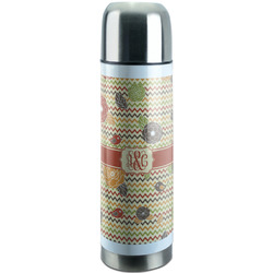 Chevron & Fall Flowers Stainless Steel Thermos (Personalized)