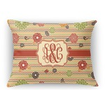 Chevron & Fall Flowers Rectangular Throw Pillow Case (Personalized)