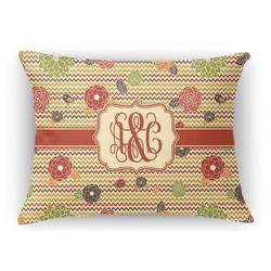 Chevron & Fall Flowers Rectangular Throw Pillow Case (Personalized)